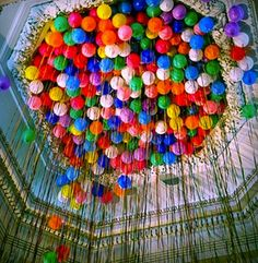 I want to do this for Christianna's birthday party.I love balloons and well she's my baby.my last chance to throw a party with lots of sweet innocent balloons. Party Box, Party Time, Nye Party, House Party, Monster Party, Balloon Ceiling, Ceiling Decor, Balloon Chandelier, Deco Ballon