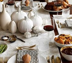 Modern thanksgiving table - how to achieve this look? by painting the pumpkins white and keeping everything monochromatic