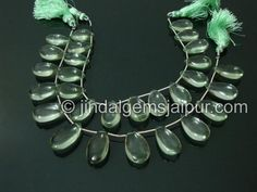 Green Amethyst Plain Pear Gemstone Beads.