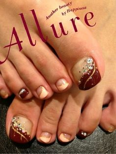 Cute desing for nails Pedicure Designs, Pedicure Nail Art, Toe Nail Designs, Toe Nail Art, Fancy Nails, Love Nails, Pretty Nails, My Nails, Feet Nails