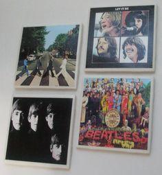 BEATLES Album Covers  Ceramic Tile Coasters  by mareestreasures, $20.00