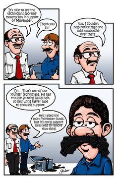 """A Stiff Upper Lip for Charity"" #comic #movember #csr #freeman #freemanavcanada #technician #AV #fundraising"