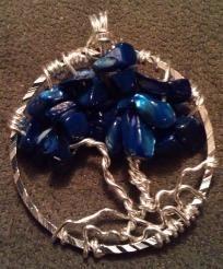Brilliant Blue Tree of Life Pendant