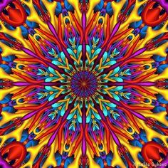 Csodálatos színek 3D mandala, animált GIF Natalia-Bykova