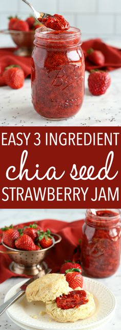 This Easy 3-Ingredient Chia Seed Strawberry Jam is the perfect healthy alternative to conventional jam! It's made with 3 healthy, natural, whole-food ingredients and it's quick and easy to make! Recipe from thebusybaker.ca! #healthyjam #chiaseedjam #homemadestrawberryjam via @busybakerblog