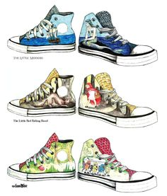Tie art into reading, Illustrate your favorite story on a pair of shoes :) Could also be your personal story, your strengths, etc. High School Art, Middle School Art, Design Your Own Sneakers, 8th Grade Art, Sneaker Art, Ecole Art, School Art Projects, Art Lesson Plans, Art Classroom