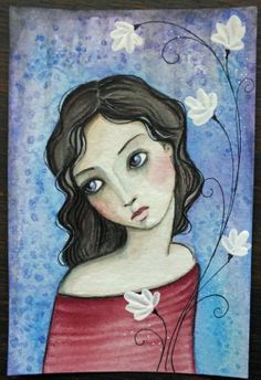 "RESERVED for Arianna! 4 x 6 Mixed Media Watercolor acrylic colored pencil ""Forgiveness"" A Kennedy flowers"