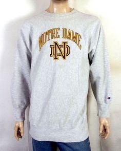 059007d518d1 vtg 80s Champion Reverse Weave Notre Dame Fighting Irish Sweatshirt sz XXL