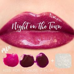 "Learn to mix it up. Use LipSense Mixology to create this ""Night on the Town"" LipColor by mixing Kiss for a Cause & Plum. Make sure you top it with Pink Glitter Gloss and pre-mix the color before application. #lipsense #mixitup"