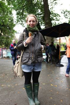 Katherine enjoying an Ice cream at Festival No.6 wearing her Barbour wax jacket.