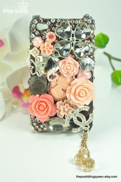 Iphone 4 Bling Decoden Phone Case/Cover Back by theposhblingqueen, $55.00