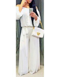 White Long Sleeve Loose Chiffon Tied Waist Wide Leg Casual Jumpsuit