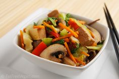 We love this too.  It is spicy so go easy on the sriracha for kids or those sensitive to spicy foods.  If you haven't tried tofu or dislike it I think you will like the recipe she gives for it.  Also, slice the tofu really small after cooking and you won't even notice it.