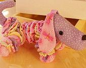 YoYo Wiener Dog, Soft Pink/Purple Flannel Toy, Decoration, Shower Gift
