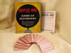 QUIZ ME GAME OF GEOGRAPHY MILTON BRADLEY 1938 COMPLETE NO 4930 CARDS ANSWER BOOK #MiltonBradley