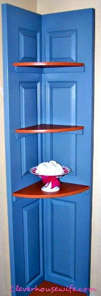 Have any vacant corners in your house, that you'd like to spruce up? Try turning an old door into a corner shelving unit!