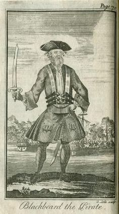 """Blackbeard, in an early 18th century engraving made by an artist who had never seen him. Edward Thatch, the pirate who came to be known as   Blackbeard, is believed to have been born around 1680 in the vicinity of Bristol, England's second most   important port. Historians have speculated that Thatch (also recorded as """"Teach,"""" """"Tache,"""" and """"Thach"""") may have not have been his real name, a theory bolstered by a review of the Bristol tax records for that period, which show nobody of that name."""