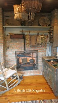 Love that the fireplace is recessed in the brick. Could put a wood burning stove there? Again, love the painted wood mantel in a muted color. Primitive Mantels, Primitive Fireplace, Primitive Living Room, Wood Mantels, Primitive Homes, Primitive Kitchen, Cozy Fireplace, Primitive Furniture, Country Primitive