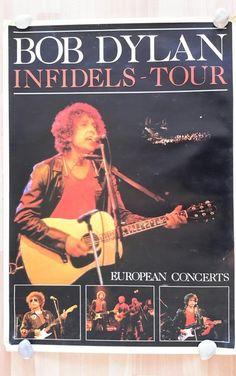 Nu in de #Catawiki veilingen: Bob Dylan Europa Infidels Concert Tour Poster 1984 en Ticket