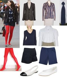 On Blair: Zara Blazer, Moschino Sweater, French Toast White Button-Up Top, French Toast Shorts, Franco Sarto Flats, Luella Patent Tote, American Apparel Red Tights, French Toast Tie