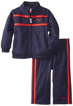 PUMA Kids Baby Boys Logo Tricot Set, Navy/Red, 18 Months