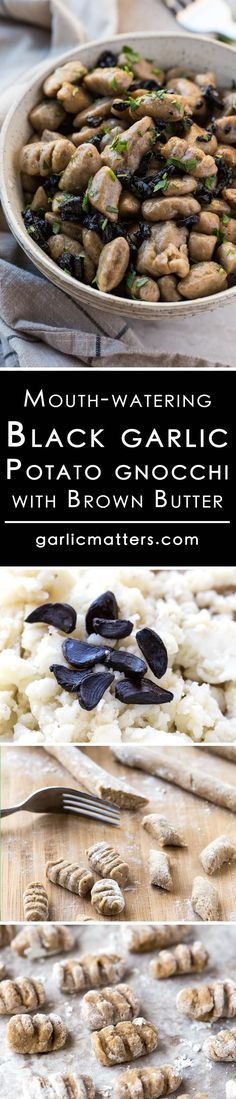 Delicious, light & tender, vegan black garlic potato gnocchi recipe - made from scratch with only 4 ingredients. Surprisingly easy to make dish with step by step instructions and 9 tips on how to get them right every time. Potato Gnocchi Recipe, Gnocchi Recipes, Risotto Recipes, Garlic Recipes, Sauce Recipes, Best Vegetarian Recipes, Veggie Recipes, Healthy Recipes, Black Garlic