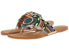 Naughty Monkey Electric Shine Beaded Thong Flat synthetic blue, pewter, fuchsia, lime .25h (70.00) NA 1/16