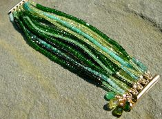 The Persephone: Precious and Semi-Precious Green Gemstone Bracelet by TeeceTorre on #Etsy