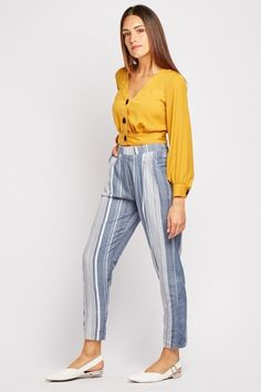 Multi-Stripe Lightweight Trousers Saved Items, Trousers, Pants, Blue And White, Legs, Model, How To Wear, Stuff To Buy, Fashion