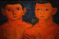 Barcsay Jenő: Munkások (Vörös fiúk), részlet, 1928 k., olaj, vászon, 75 x 100,7 cm