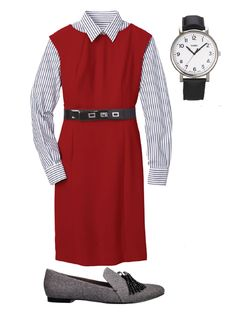 With masculine accents--pinstripes, a bold watch, tasseled loafers--the look is clean-cut but never boring. Dress, $150; bananarepublic.com. Shirt, $90; brooksbrothers.com. Watch, Timex, $65; nordstrom.com. Belt, $16.99; target.com. Loafers, Simply Vera Vera Wang, $65; kohls.com.   - Redbook.com