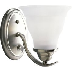 Progress Lighting P3190-09 1-Light Bath Bracket, Brushed Nickel by Progress Lighting. $38.70. Progress Lighting has over 5,000 lighting fixtures offered in our catalog, the largest single source for residential and commercial lighting. Size: 6-1/2-Inch Width, 7-1/2-Inch Height Extends 9-Inch. Etched glass. Uses (1) 100-Watt medium base bulb. Brushed Nickel Finish. From the Manufacturer                Gracefully exotic, the Trinity Collection offers classic sophisticat...