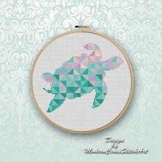 Turtle Geometric Cross Stitch Pattern Modern Triangle Mosaic Animals Counted Chart Nursery Cute Sea Turtle Silhouette Home Decor Pattern PDF ------------------------------------------------------------------------------------------------------ This PDF cross stitch pattern