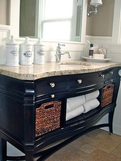 """A Tree Lined Street: Our Bathroom Renovation an old """"wine"""" buffet turned into a vanity with a granite custom fitted top. A Tree Lined Street: Our Bathroom Renovation an old wine buffet turned into a vanity with a granite custom fitted top. Diy Bathroom Vanity, Bathroom Furniture, Small Bathroom, Bathroom Ideas, Vanity Sink, Dresser Into Bathroom Vanity, Dresser Sink, Bathroom Mold, Granite Bathroom"""