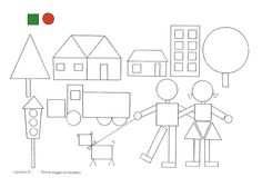 Para formar dibujos con las figuras geométricas (de la web) Art Drawings For Kids, Drawing For Kids, Art For Kids, Crafts For Kids, Shapes Worksheets, Kids Math Worksheets, Preschool Programs, Preschool Learning Activities, Geometric Shapes Drawing