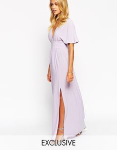 Buy Love Kimono Sleeve Maxi Dress at ASOS. Get the latest trends with ASOS now. Dark Purple Bridesmaid Dresses, Bridesmaid Dresses Under 100, Bridesmaids, Maxi Robes, Style Snaps, Maxi Dress With Sleeves, Mannequin, Wrap Dress, My Style