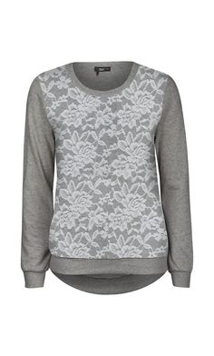 New Gray Lace-Front Hi-Low Sweatshirt