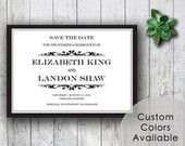 Printable Wedding Save The Date PDF -  Classic Black and White Traditional Damask Wedding (Or Your Choice in Colors!)