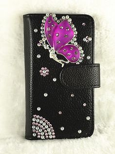 Bling Butterfly Flip PU Leather Card Holder Wallet Case Cover For Various phone2