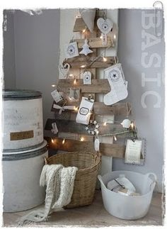 Scrap wood tree with lights & small ornaments.  Easy to make and space efficient.