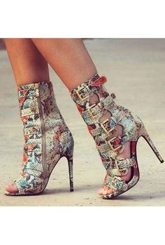 Western Style Fashion Open Toe Snake Leather Stiletto Heel Short Gladiator Boots Cut-out Buckles High Heel Ankle Booties Heels Hot High Heels, High Heels Stilettos, High Heel Boots, Womens High Heels, Heeled Boots, Stiletto Heels, Gladiator Boots, Heeled Sandals, Ankle Booties