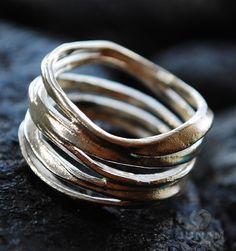 Silver Ring Unique Loop Design, sterling silver 925, handmade, arty design, funky ring, trendy ring, contemporary, alternative wedding ring. $54.00, via Etsy.