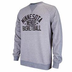 b6b90b1ac7f Minnesota Timberwolves NBA Adidas Men s Gray Raglan Crewneck Fleece  Sweatshirt