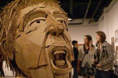 Cardboard head sculpture