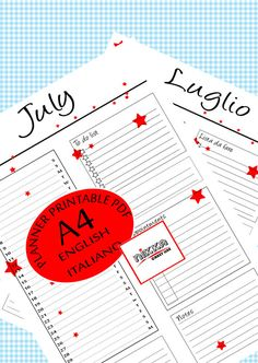 JULY monthly PRINTABLE calendar 2017 PLANNER  A4  pdf - CALENDARIO 2017 mese LUGLIO planner stampabile - A4 - pdf - download instantaneo - versione in italiano e versione in inglese - stelle rosse