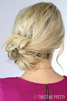 We know Abby from Twist Me Pretty for her super-easy updos that look so gorgeous once completed, and this knotted updo is no different. Check out the super-helpful video here.