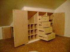 built in storage into the corners of a pitched roof. Regular dressers wont fit in these rooms, and traditional shelves aren't practical. But don't waste the space, create a built in dresser or storage cabinet for perfect fit! Attic Storage, Built In Storage, Locker Storage, Eaves Storage, Bedroom Storage, Closet Storage, Attic Organization, Closet Shelves, Wall Storage