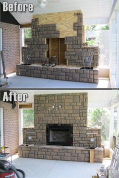 This fake rock fireplace looks undeniably realistic when compared against the natural brick wall.