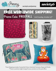 FREE WORLDWIDE SHIPPING until Sunday, October 25. Use promo code: FREEFALL at Pommy New York. http://society6.com/pommy