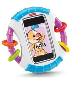 Protect your iPhone or iPod Touch from dribbles and unwanted call-making with the clear film, and continue to help baby explore hand-eye coordination and learning apps. Textured handles with rattle beads are easy for little hands to grasp, and enhance fine motor skills. The mirror on the reverse side and 4 free baby game apps included provide even more play to learn options! Ages 6M+